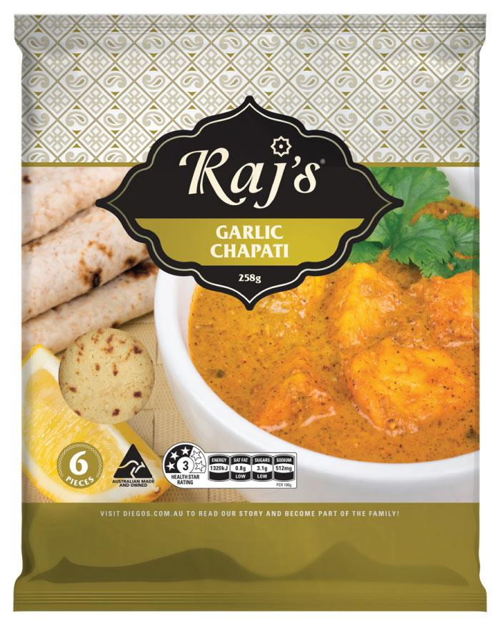 Raj's Garlic Chapati 6pk 258g - Fine Food Direct