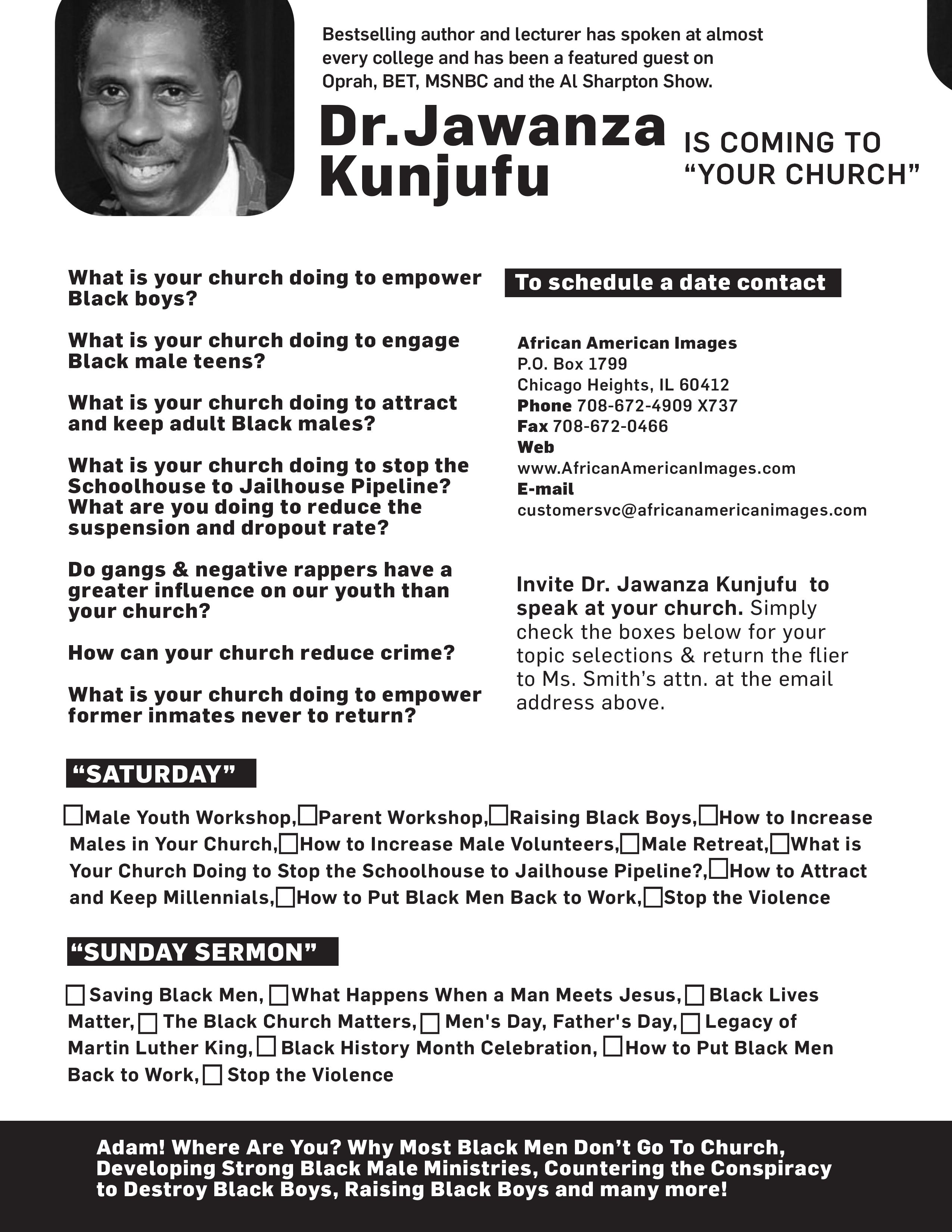 Dr. Jawanza  Kunjufu - Educational Consultant/Author