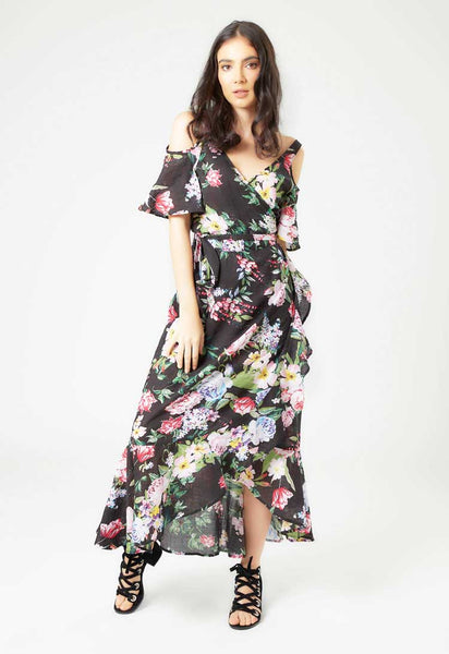Cold Shoulder Wrap Dress - Mae & Pearl