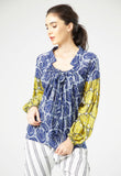 Bell Blue Gather Blouse - Mae & Pearl
