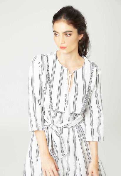 Linen White Kaftan Dress - Mae & Pearl
