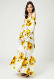 Bella Sunflower Maxi Dress White - Mae & Pearl