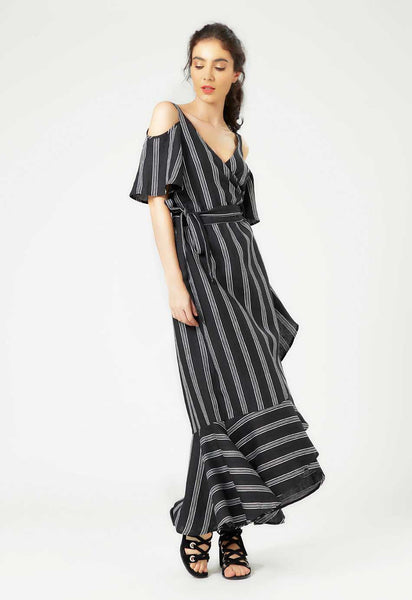 Black Linen Wrap Dress - Mae & Pearl