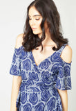 Bell Blue Poppy Print Wrap Dress - Mae & Pearl