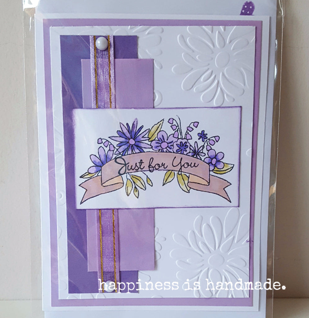 "Purple Flowers Handmade Greeting Card ""Just for you"""