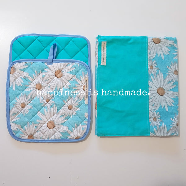 Blue Flowers Reversible Apron and Pot Holders Set