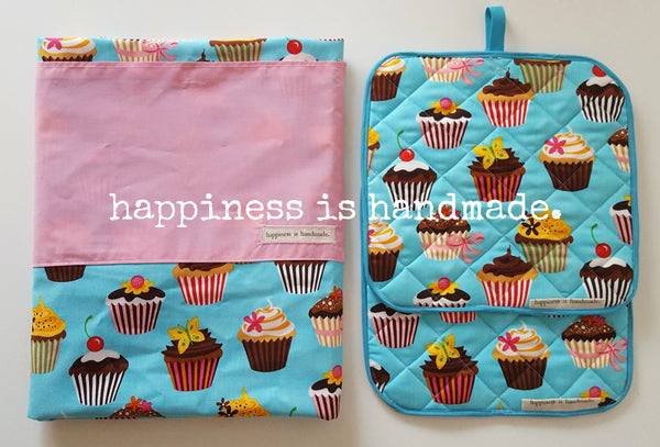 Blue Cupcake Reversible Apron and Pot Holders Set