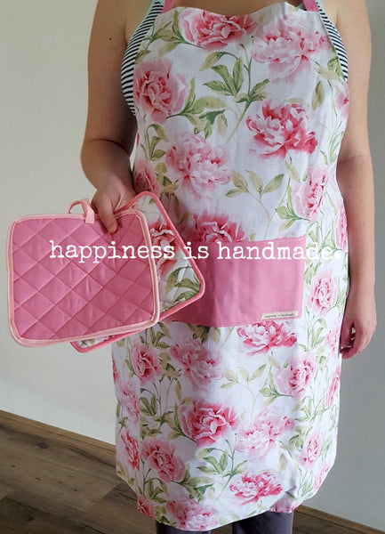 Pink Floral Reversible Apron and Pot Holders Set