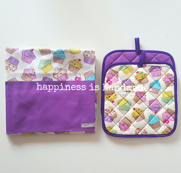 Purple Cupcakes Reversible Apron and Pot Holders Set