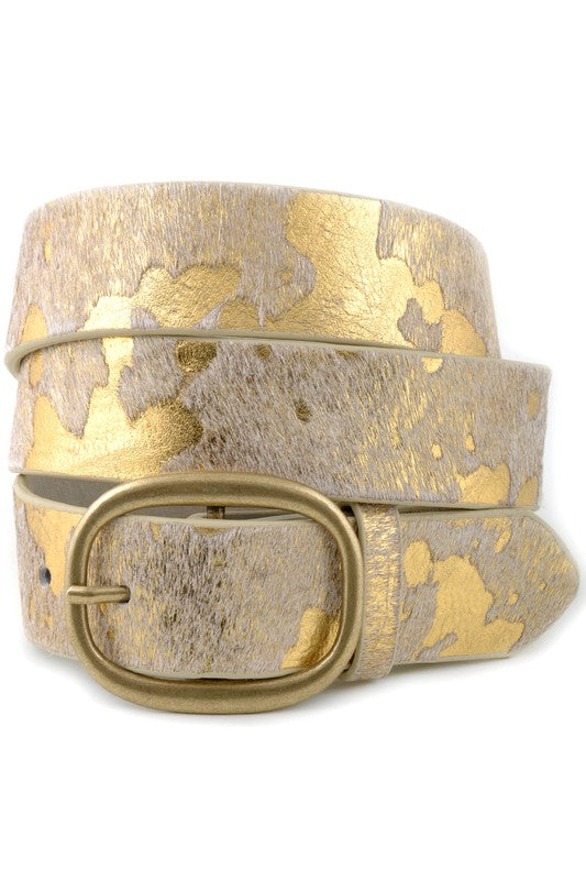 Cow Print Leather Belt