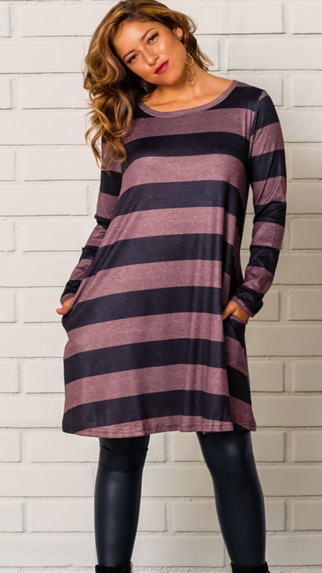 Stripe It Long Sleeve Dress
