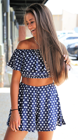 right on the dot polka dot two piece Set