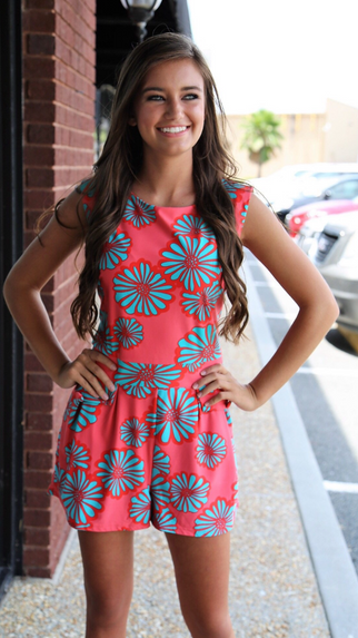 Aster Coral Ladies Printed Romper