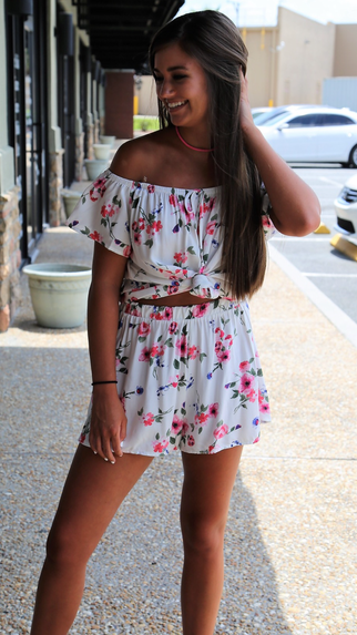 Off The Shoulder Floral Print Short Set