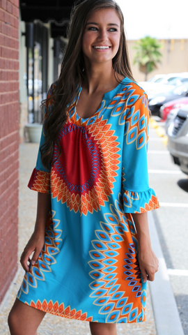 Turquoise Caroline Print Dress