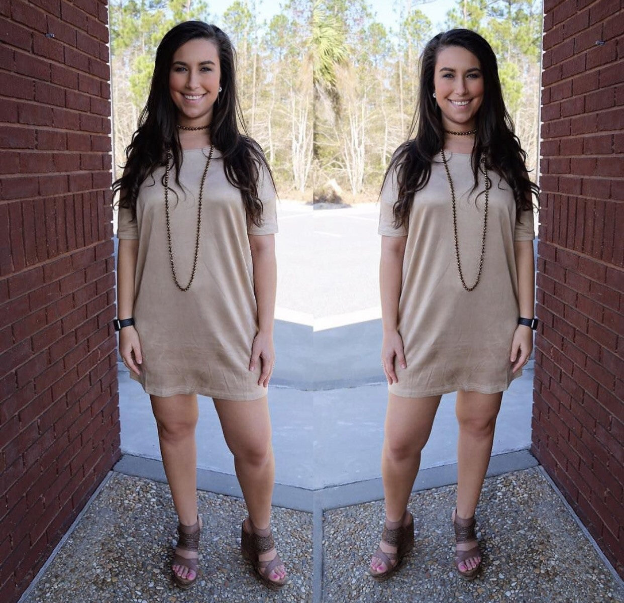 Tan Suede Short Sleeve Dress