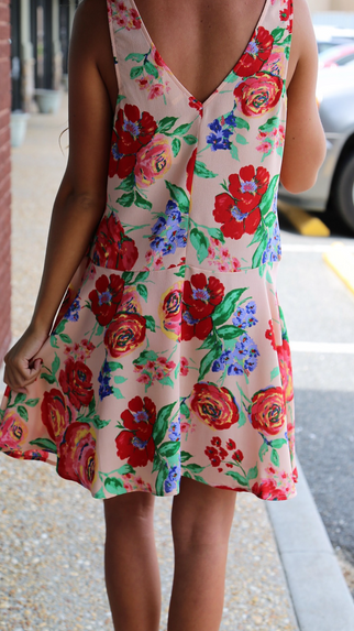 Just Peachy Floral Dress