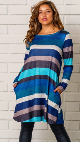 Stripped Long Sleeve Dress