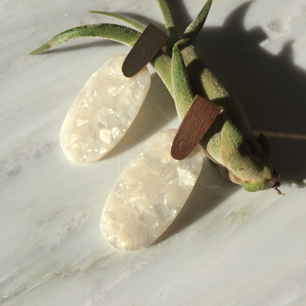 Cream Oval Tortoise Earrings