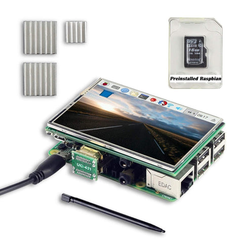 "Arducam Raspberry Pi Kits Raspberry Pi 3.5"" HDMI TFT LCD Display Kit Touchscreen 16GB SD Card"