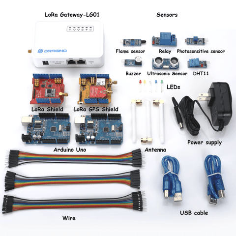Dragino LoRa IoT No Cellular LoRa IOT Starter Kit - Including 2 x Arduino Uno - AU915MHz - AS923MHz
