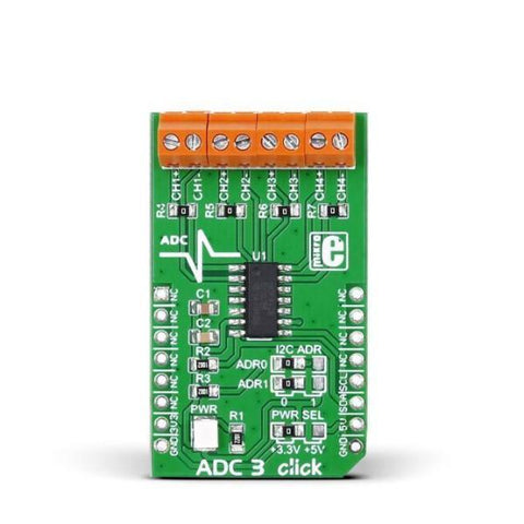 MikroElektronika IoT Comms ADC3 click - MikroElektronika 16-Bit Multichannel Analog-to-Digital Converter
