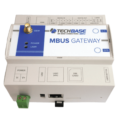 TECHBASE Gateway MBus Gateway 10 RTU / No Additional Option MBus Gateway - Programmable M-BUS to Modbus TCP/MQTT/SNMP IoT Converter