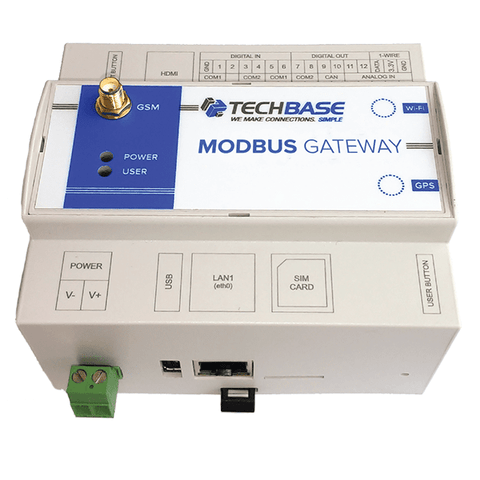 TECHBASE Gateway Modbus Gateway 1XRS / No Additional Option Modbus Gateway - Programmable Modbus RTU to Modbus TCP/MQTT/SNMP IoT Converter