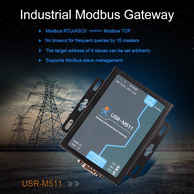 Industrial Modbus Gateway, Modbus RTU/ASCII to TCP - USR-M511