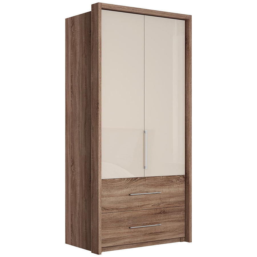 Gratia 2 Door Glass Wardrobe & Cupboard