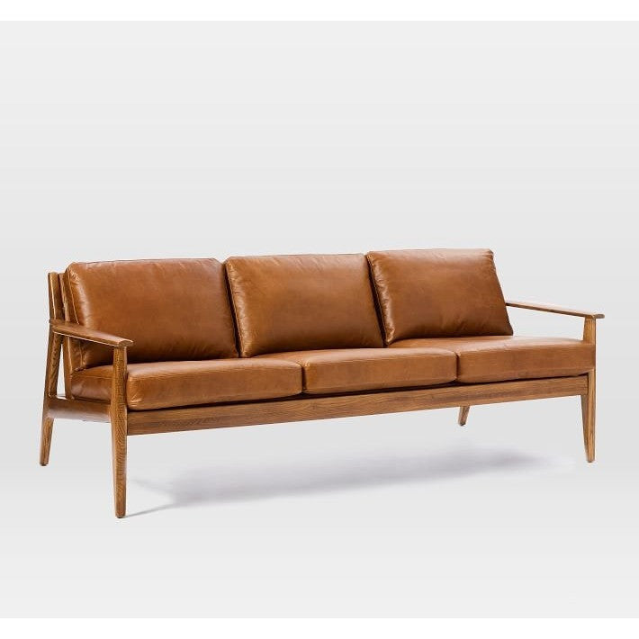 William Faux Leather Upholstered Sofa