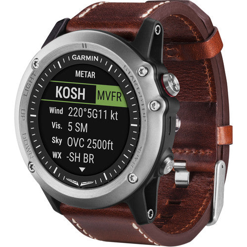 D2 Bravo GPS Aviator Navigation Watch (Brown Leather Band)