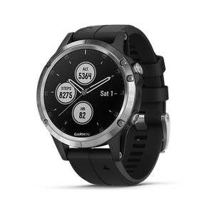 Fenix 5 Plus Silver with Black Silicone(English)