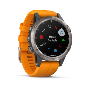 Fenix 5 Plus Sapphire,Titanium with Orange Silicone Band(English)