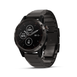 Fenix 5 Plus Sapphire,Gray with Titanium & Black Silicone Band(Chinese)