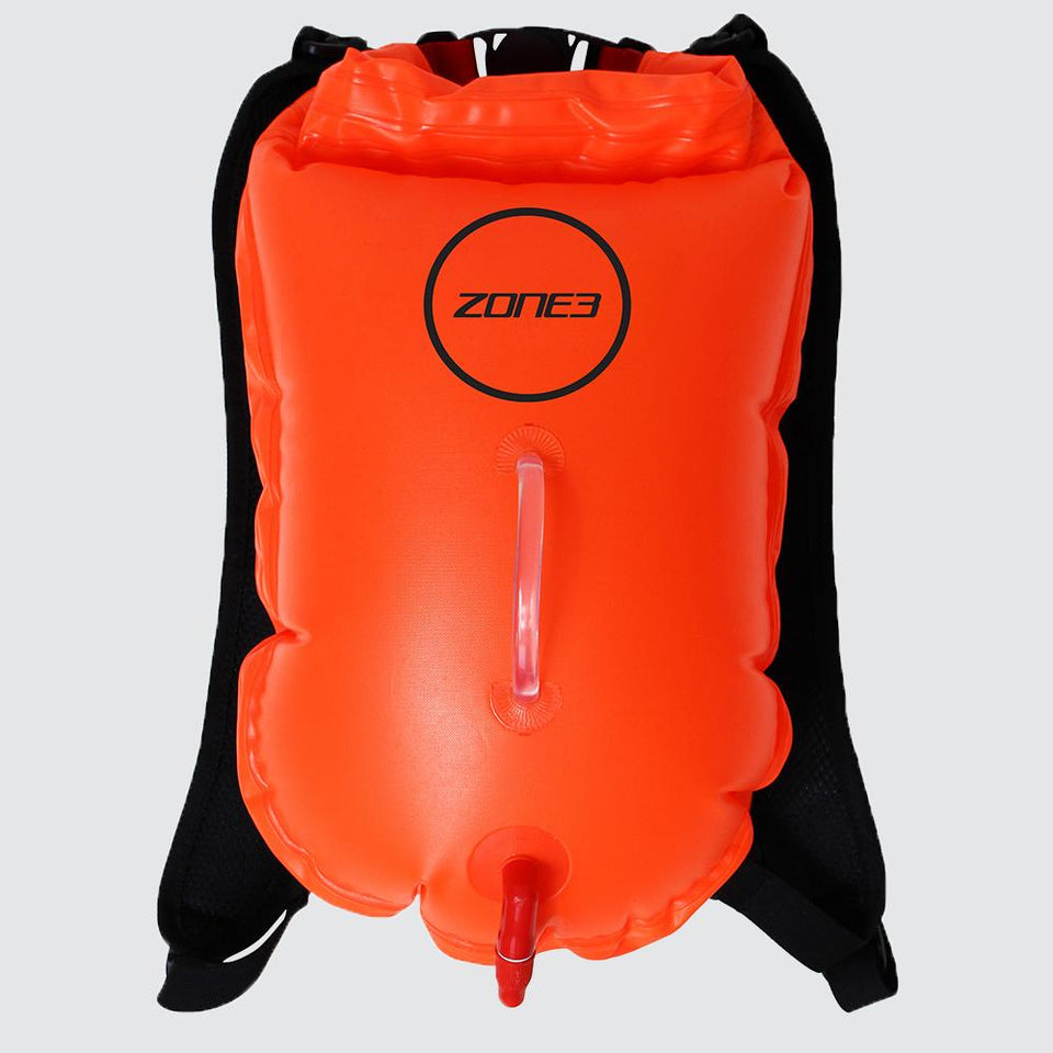 ZONE 3 BACKPACK SWIM SAFETY BUOY & DRY BAG 28L, ORANGE