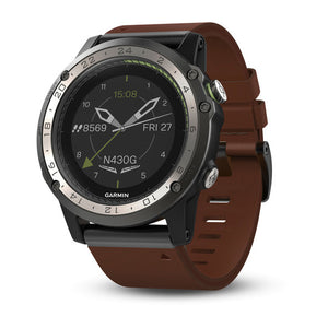 D2 Charlie Titanium with Leather Band - English Version 010-01733-30