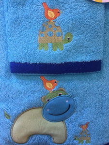 Embroidered Bath Towel & Washer Set