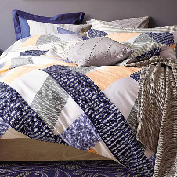 Blue Orange Stripe Quilt Cover Set