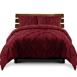 Burgundy Diamond Pintuck Quilt Cover Set