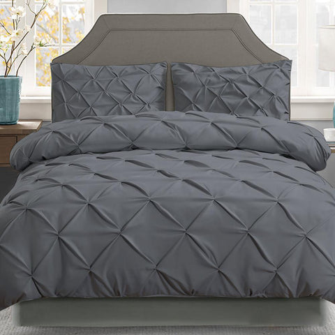 Charcoal Diamond Pintuck Quilt Cover Set