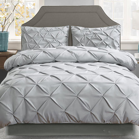 Grey Diamond Pintuck Quilt Cover Set
