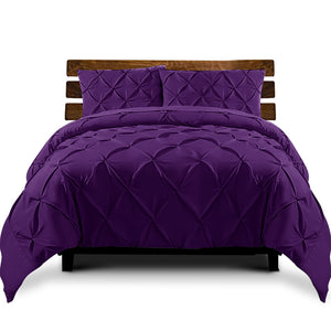 Purple Diamond Pintuck Quilt Cover Set