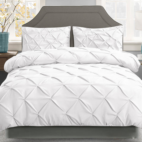 White Diamond Pintuck Quilt Cover Set