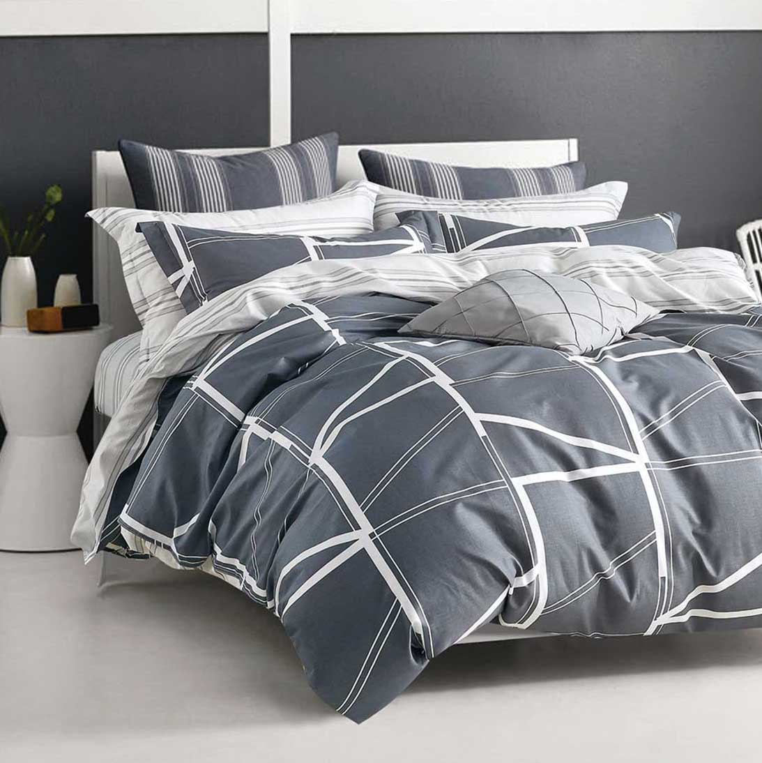 Navy Geo Line Quilt Cover Set
