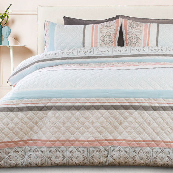 Paros Embossed Quilt Cover Set