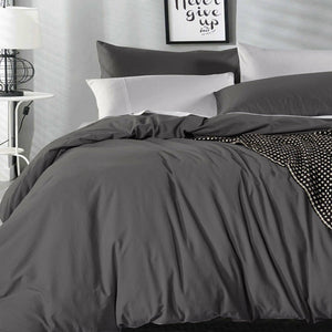 Vintage Washed Cotton Quilt Cover in Charcoal