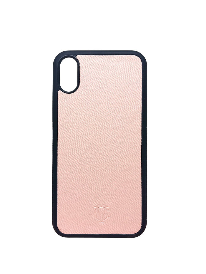 Nude Light Pink iPhone X Case - Saffiano Leather - Valerie Constance