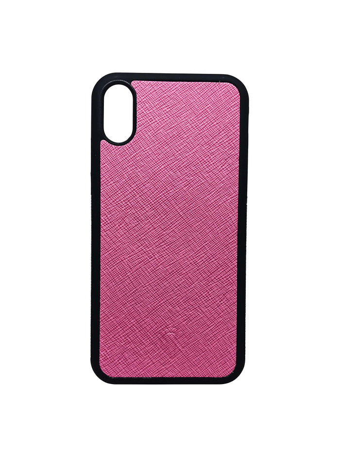 Burgundy Pink iPhone X Case - Saffiano Leather - Valerie Constance