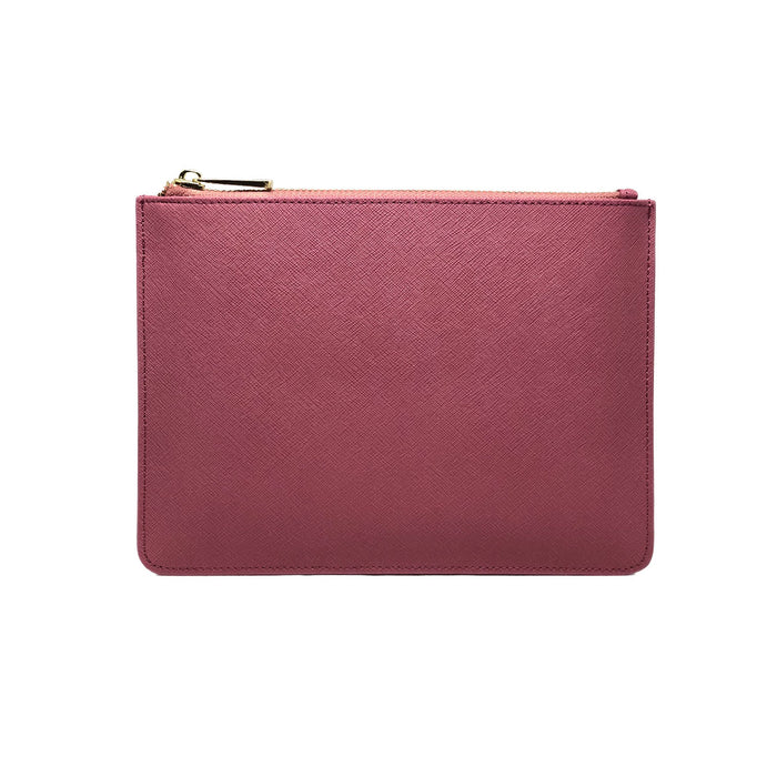 Clutch Pouch - Dark Pink Saffiano Leather - Valerie Constance